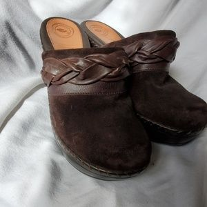Brown suede and leather accent mules